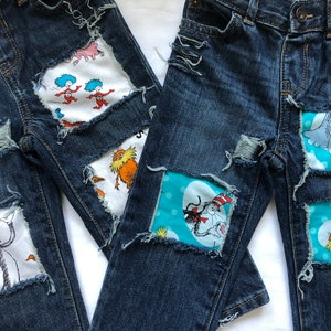 incredibles birthday boys jeans patched ripped distressed denim incredibles fabric
