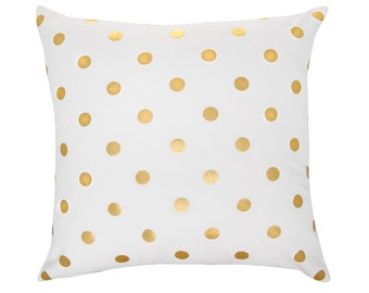 SARA Gold Foil White Geometric Polka Dot Spot Cushion Pillow Cover 45cm x 45cm