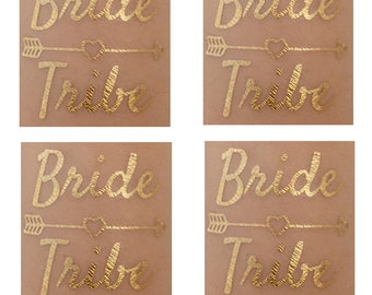 8 x Bride Tribe - Hens Party Favors, Metallic Gold Bride Tribe Tattoos, Bachelorette Party Waterproof Tattoos - Bride Tribe Tattoo