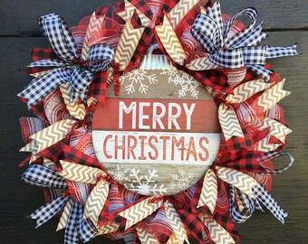 Christmas wreath, christmas front door wreath, farmhouse christmas wreath, rustic christmas wreath, merry christmas wreath, door wreath