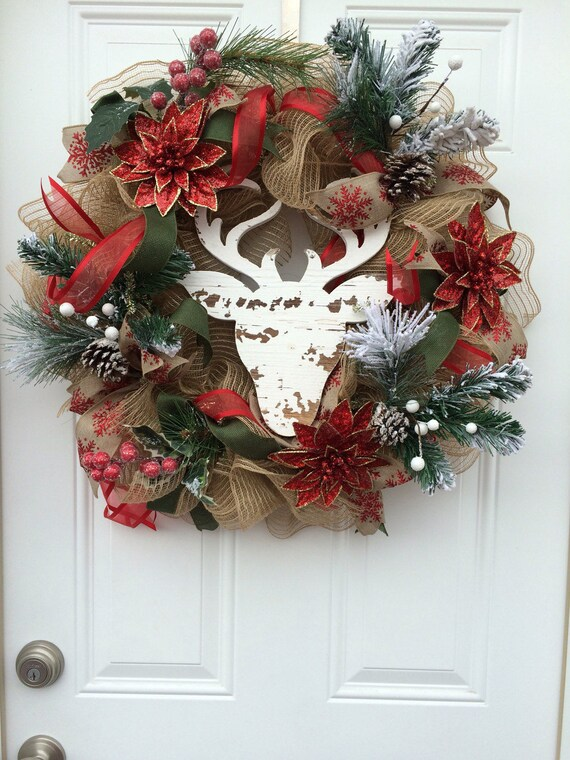 large christmas wreath reindeer wreath christmas wreath red - Large Christmas Wreath