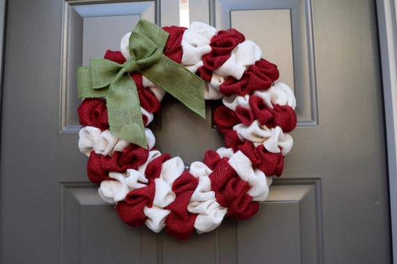 Candy Cane Wreath Red And White Christmas Wreath Christmas Etsy