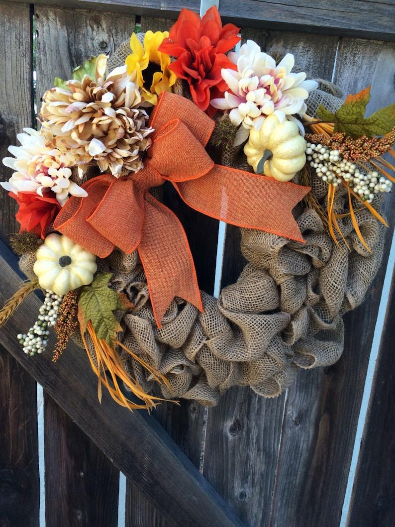 Thanksgiving wreath fall floral wreath fall burlap wreath ...