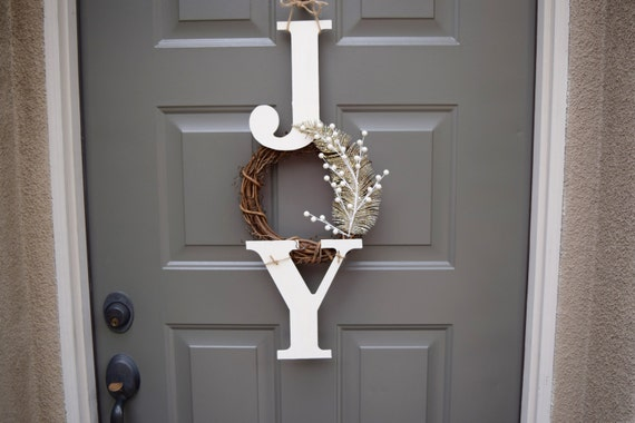 Joy Sign Joy Wreath Christmas Sign Christmas Door Hanger Etsy