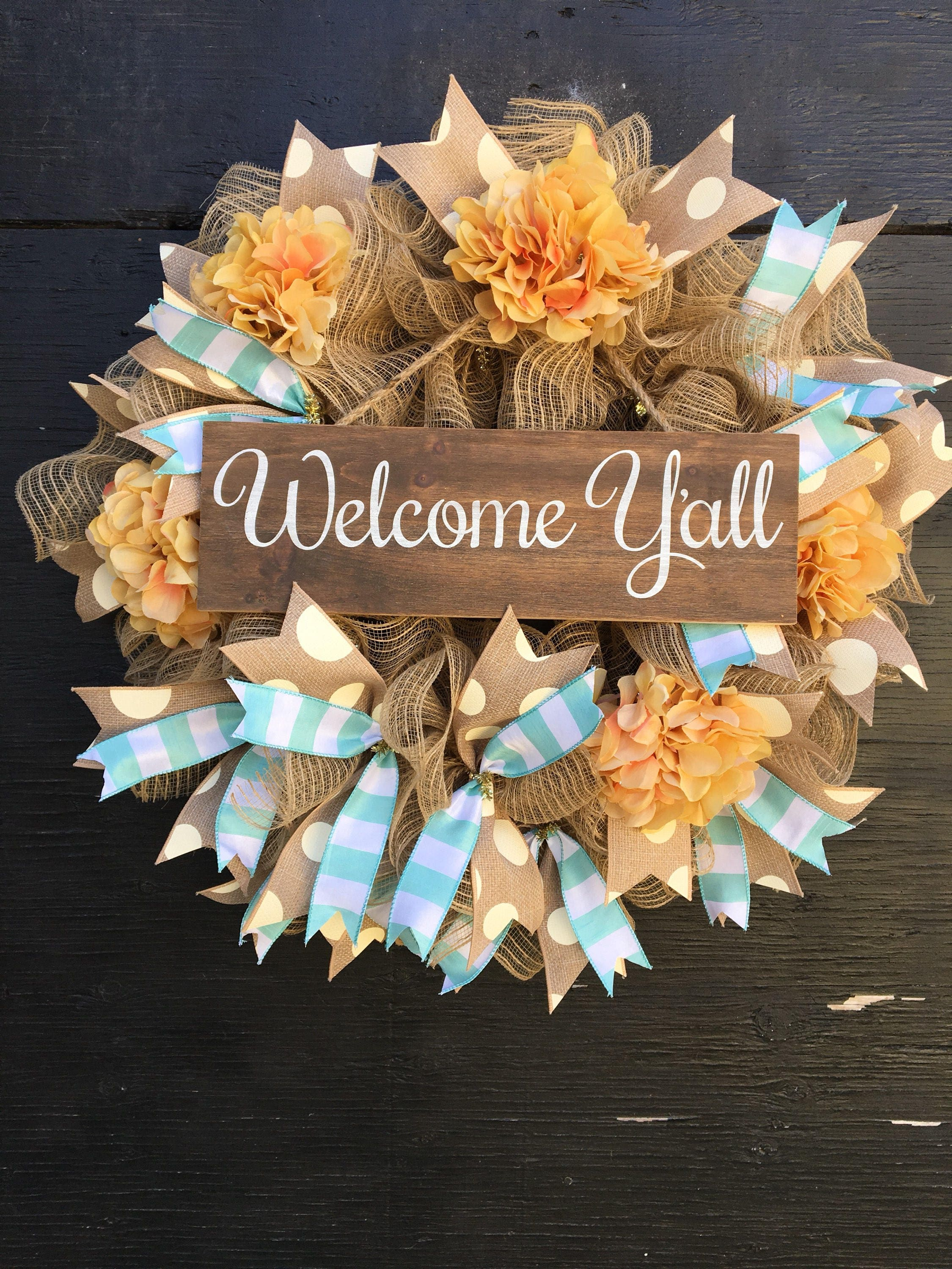 Farmhouse Wreath Summer Wreath Yall Wreath Welcome Etsy