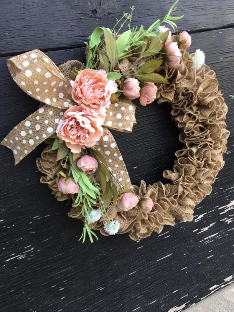 Spring burlap wreathspring wreath for front doorpeony wreathpink wreathburlap front door wreathspring wreathspring farmhouse wreath