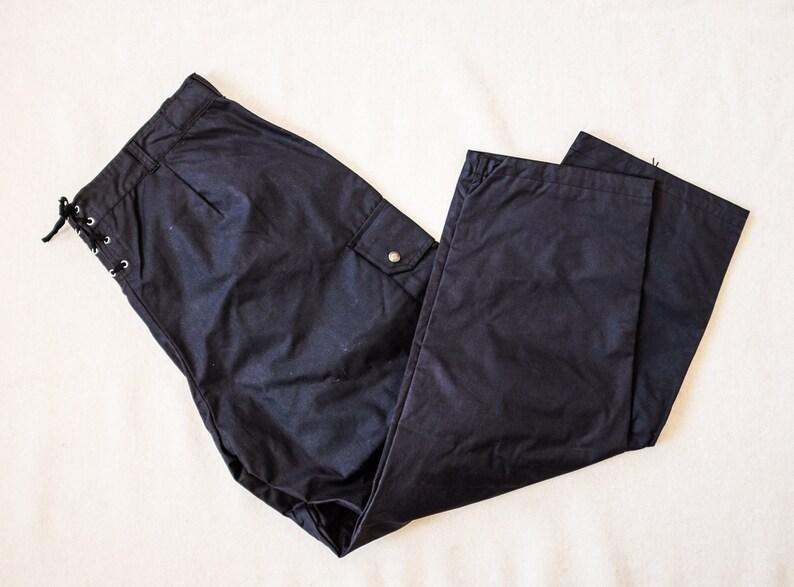 b3a850e50b20f Wodoodporny czarny woskowanej bawełny spodnie Spodnie rowerowe | Etsy