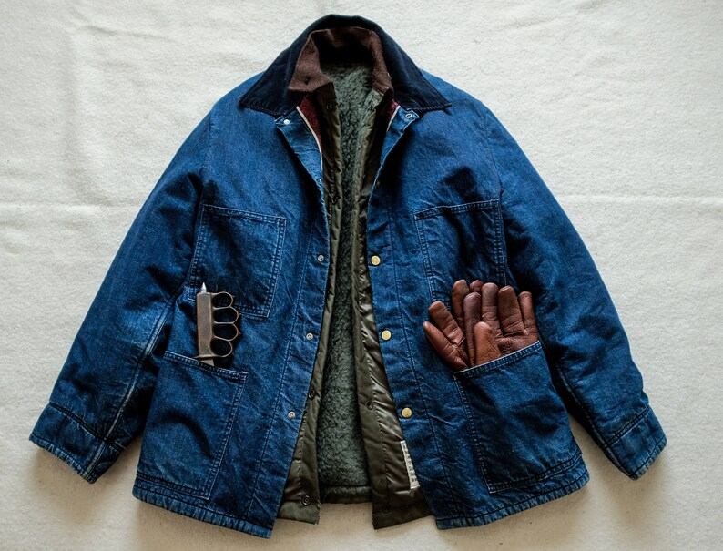 5247284e 50's 60's Vintage Denim Chore Jacket Barn Coat Wool | Etsy