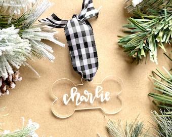 Dog bone ornament- cursive style, custom dog ornament, dog name ornament, dog ornament, pet ornament personalized, personalized dog ornament