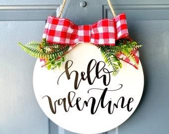 Hello valentine door hanger, Valentine's Day sign, Valentine's Day decor, Valentine's Day door hanger Valentine's Day door sign, door hanger