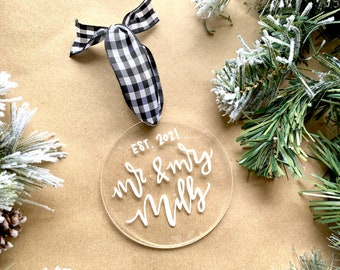 First married Christmas ornament, wedding gifts personalized, wedding gift for couple, first Christmas married, married ornament 2021