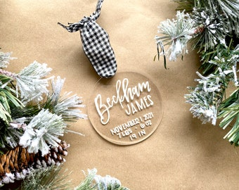 Birth stats ornament, baby's first Christmas ornament, first Christmas, baby boy gifts. first Christmas ornament baby, baby name gifts