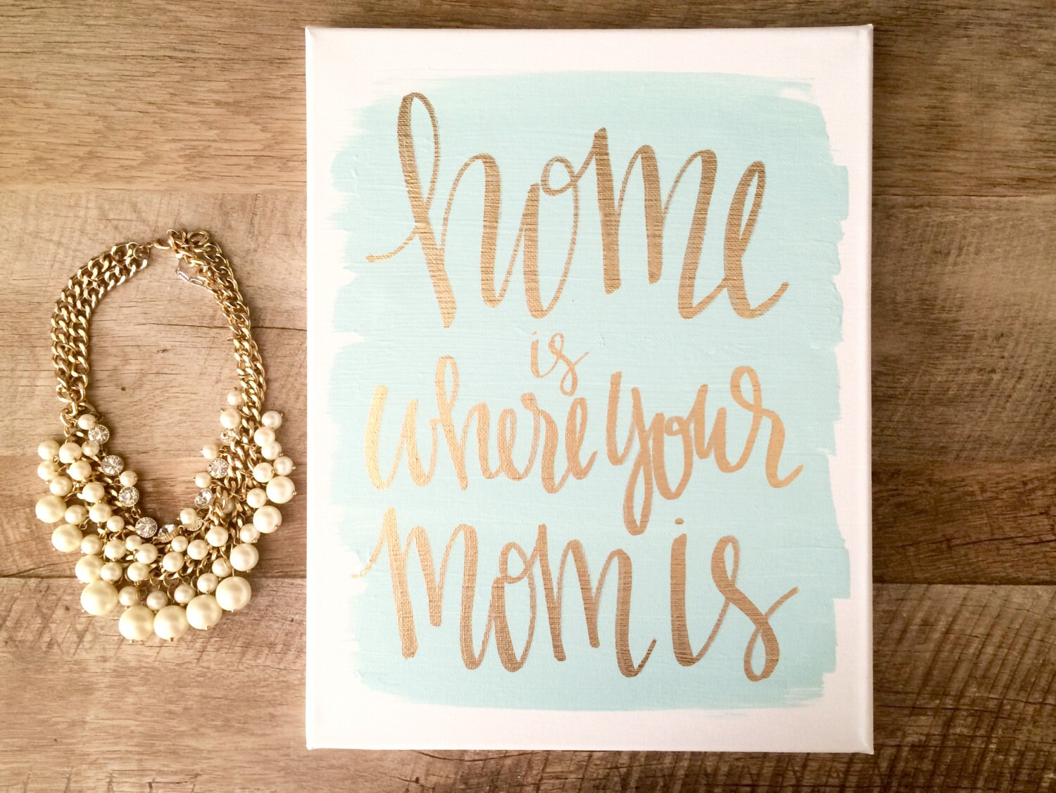 Home Is Where Your Mom Is 11x14 Hand Lettered Canvas Mom Etsy