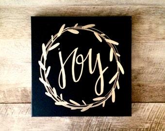 Joy wreath canvas sign- 12x12 home decor, Christmas sign, Christmas decor, Christmas canvas, holiday decor, joy sign, wall art, canvas quote