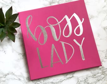 Boss lady- 12x12 canvas, office decor, boss lady sign, boss gift, boss lady print, boss lady sign, office signs, gift for boss, boss sign