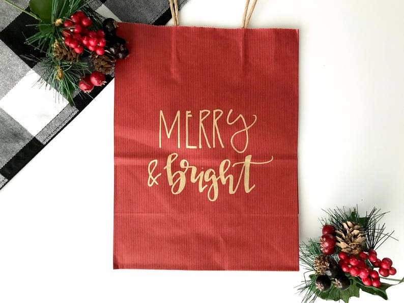 image 0 & Holiday gift bags hand lettered gift bags hand lettered | Etsy