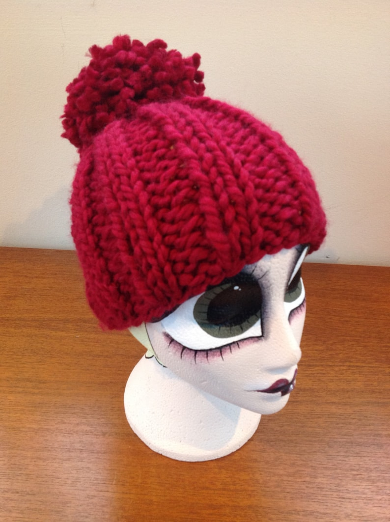 efe481631 Super chunky, oversized hand knitted ribbed beanie hat with extra chunky  pompom, bobble in gorgeous deep cherry red, maroon wool