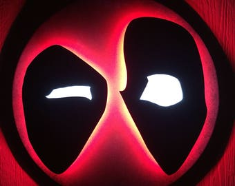 Deadpool Merc with a Mouth illuminated LED neon light up superhero logo night light for mancave or bedroom