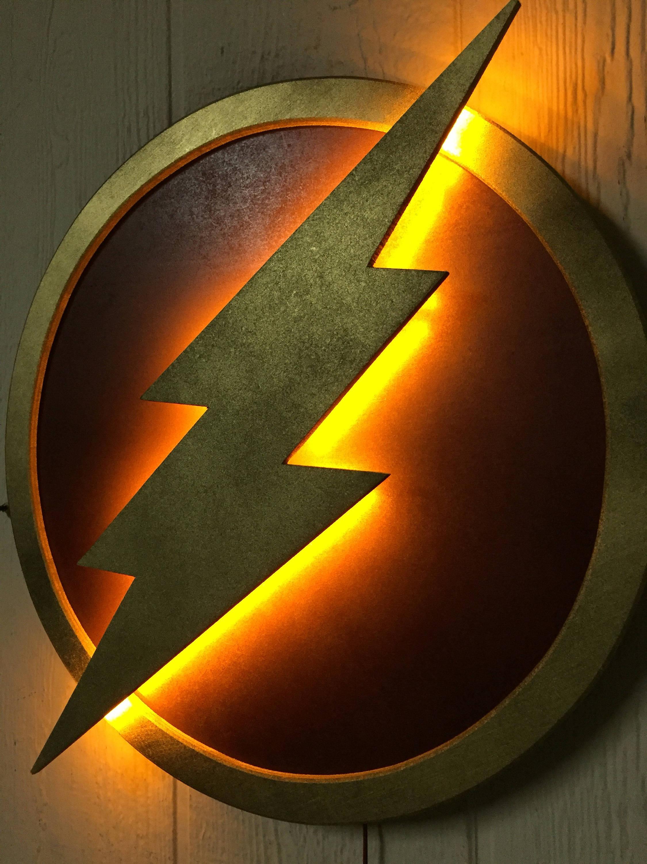 Justice league le flash led clair super h ros logo nuit etsy - Flash le super heros ...