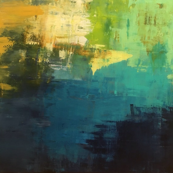 Giclee of Original painting by Emily Horton, blue, green, yellow 30x30