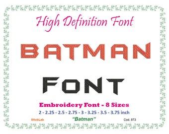 batman alphabet embroidery font 8 size