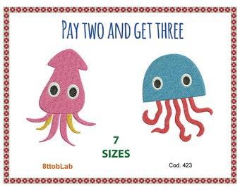 Embroidery design sea animal