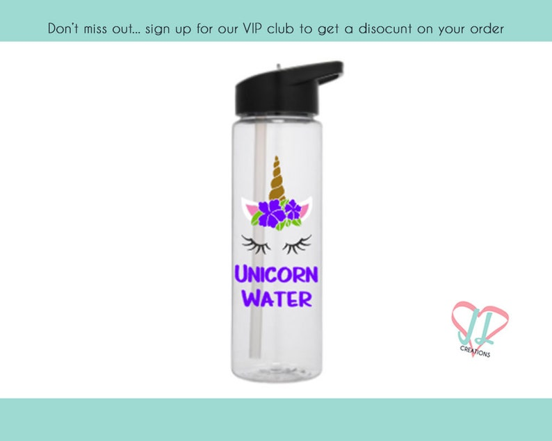 Unicorn Water Bottle  24 oz  Several Colors  Water Bottle  image 0