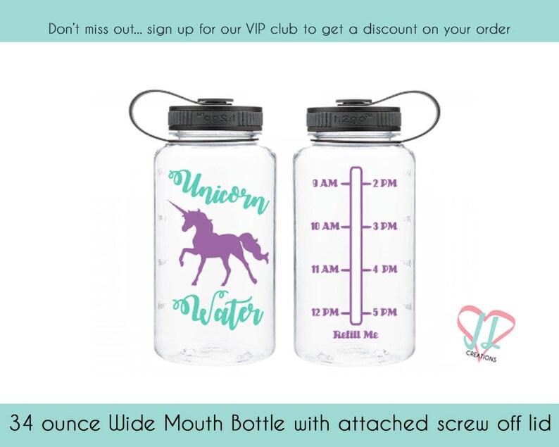Unicorn Water Tracker  Water bottle Tracker  34 oz bottle  image 0