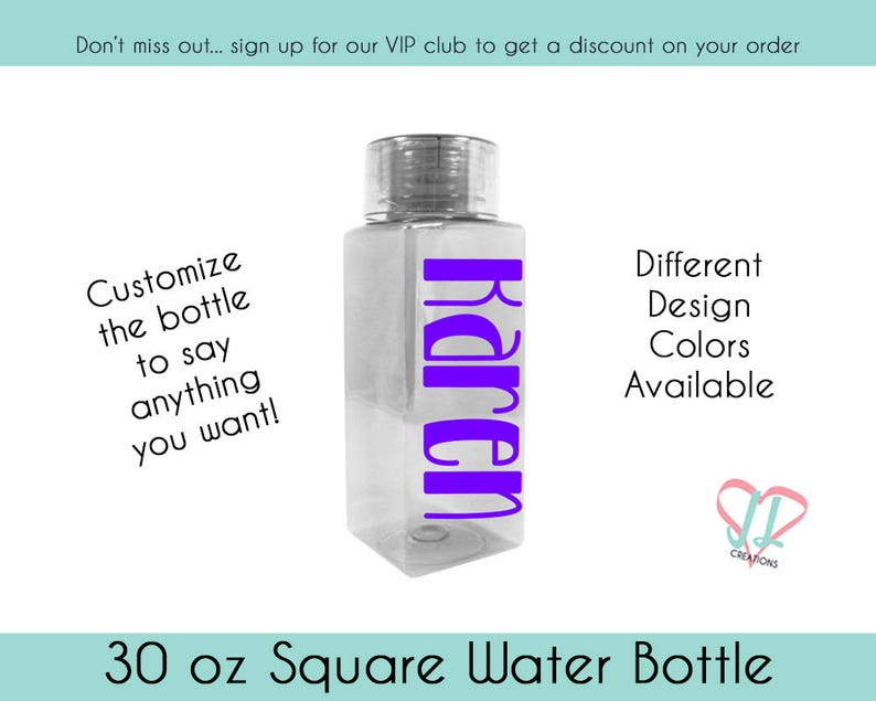 Square Water Bottle  Personalized Bottle  30 oz water bottle image 0