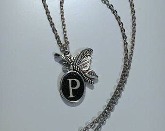 """Butterfly Initial Necklace on 18"""" Chain"""