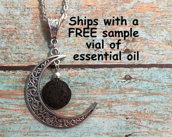 Aromatherapy Necklace - Lava Stone Moon Pendant Diffuser Necklace : Young Living or doTerra fans - w/FREE Oil Sample!