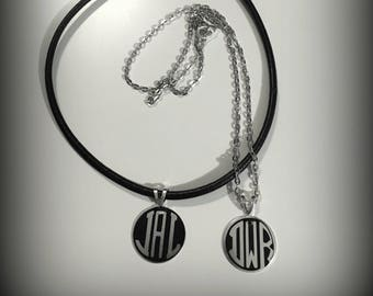 """Monogram on 18"""" Silver or 18"""" Leather Necklace"""