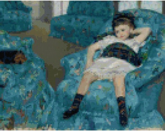 Cross Stitch Pattern: Mary Cassat- Girl With Blue Furniture