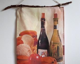 100% Linen Artist Tea Towel - Wine Bottles & Fruit