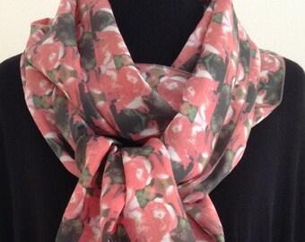 Luxurious Long Silk Scarf - Roses