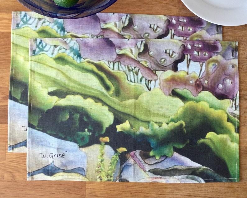 100% Linen Place Mats  Artist Print  Georgian Bay  Juniper image 0