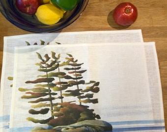 100% Linen Place Mats • Artist Print • Georgian Bay • Peaceful • Set of 2