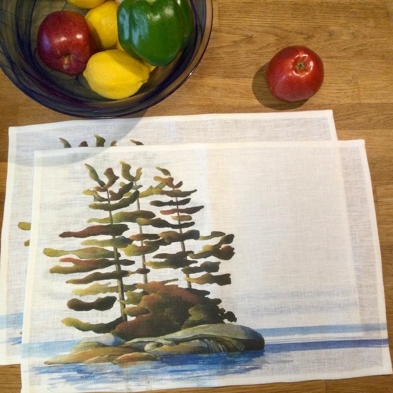 100% Linen Place Mats  Artist Print  Georgian Bay  Peaceful image 0