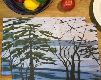 100% Linen Place Mats • Artist Print • Muskoka • Winter Melt • Set of 2
