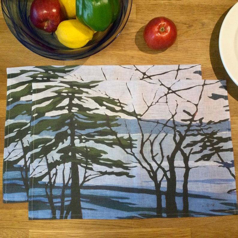 100% Linen Place Mats  Artist Print  Muskoka  Winter Melt  image 0