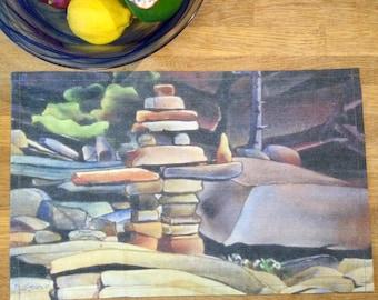 Linen Cotton Canvas Place Mats • Artist Print • Georgian Bay • The Offering • Set of 2