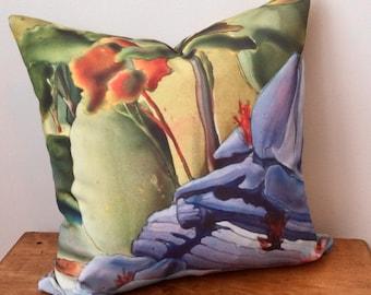 Zippered Pillow Cover - Eco Canvas Canadian Watercolour Artwork - Georgian Bay