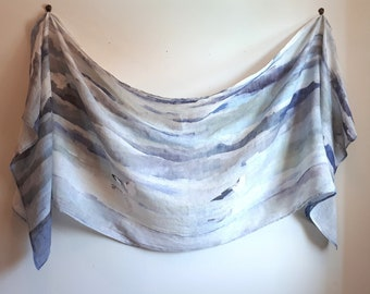 Breezy Long Linen Scarf - Waves and Gulls