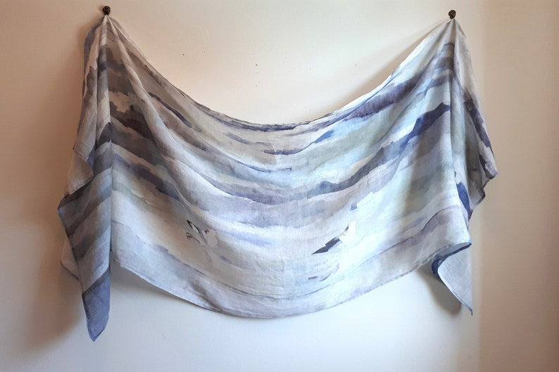 Breezy Long Linen Scarf  Waves and Gulls image 0