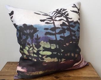 100% Linen Zippered Pillow Cover - Canadian Artwork - Georgian Bay - STILL WATERS