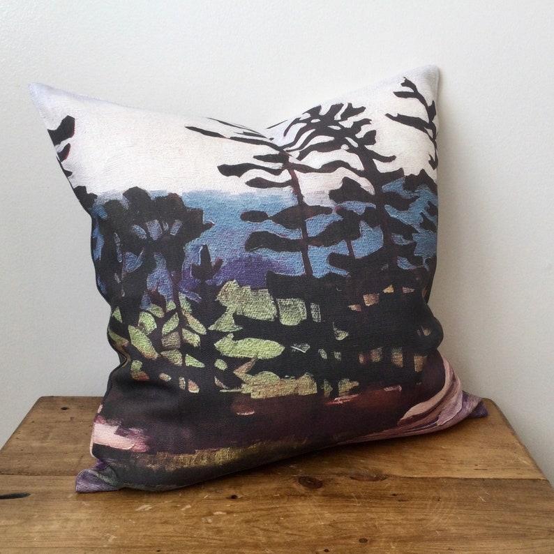 100% Linen Zippered Pillow Cover  Canadian Artwork  Georgian image 0