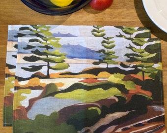 100% Linen Place Mats • Artist Print • Georgian Bay • Fairy Lake • Set of 2