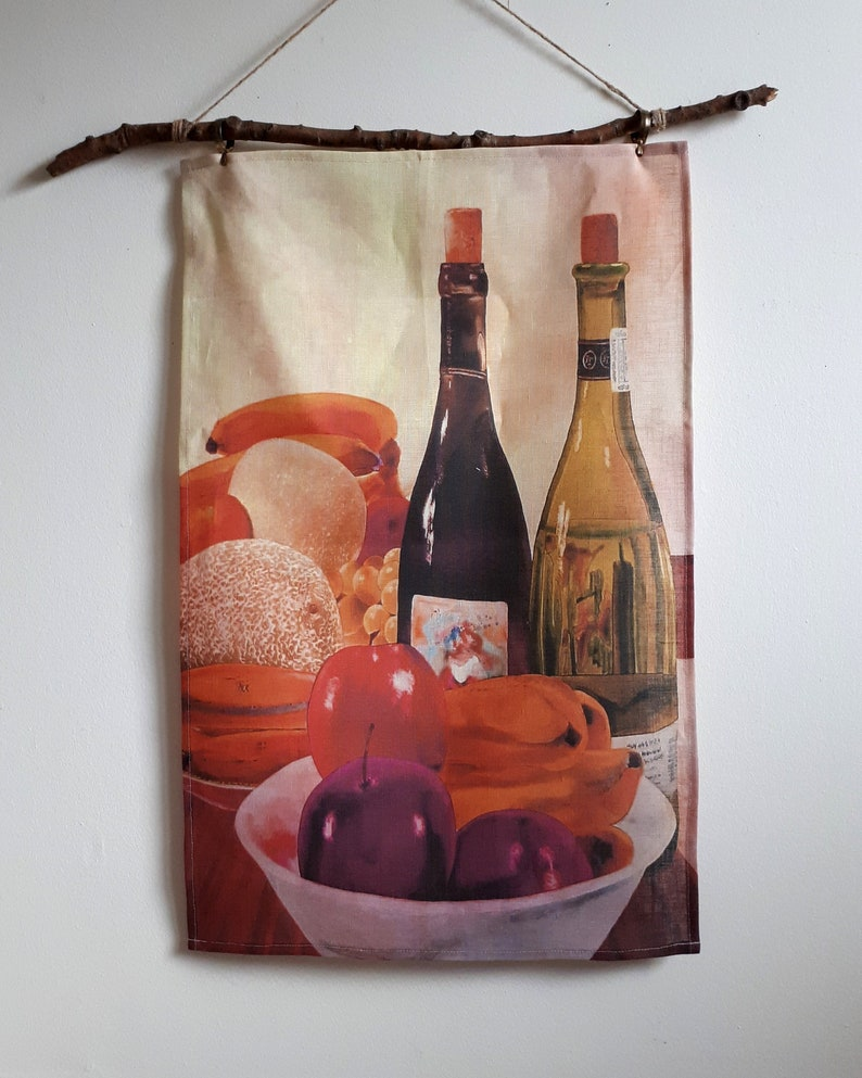 100% Linen Artist Tea Towel  Wine Bottles & Fruit image 0