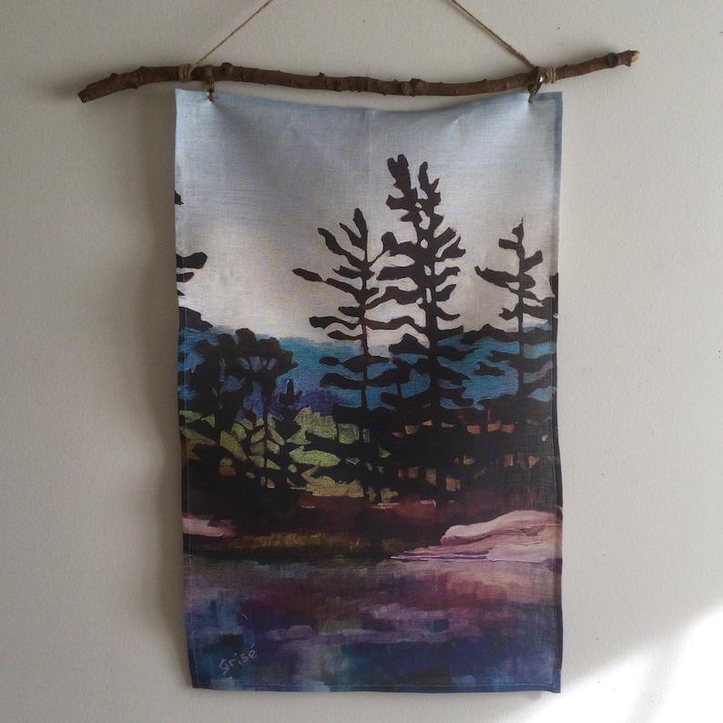 100% Linen Artist Tea Towel  Canadian Art Muskoka Design  image 0