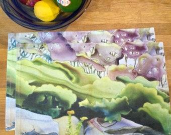 Linen Cotton Canvas Place Mats • Artist Print • Georgian Bay • Juniper • Sets of 2